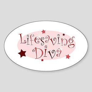 """Lifesaving Diva"" [red] Oval Sticker"